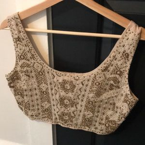 Urban Outfitters Gold Beaded Crop Top